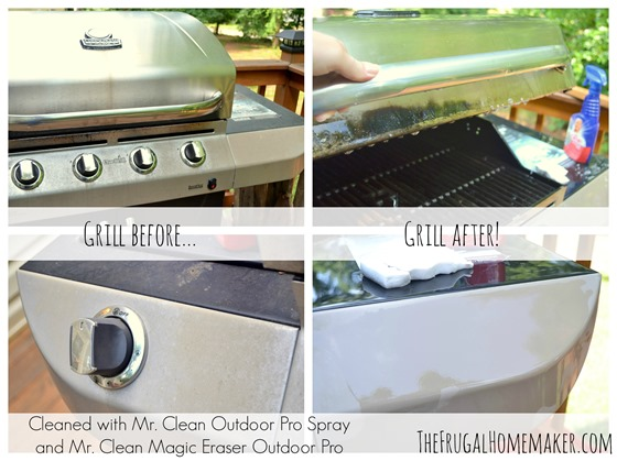 cleaned grill with Mr. Clean Outdoor Pro Spray and Mr. Clean Magic Eraser Outdoor Pro