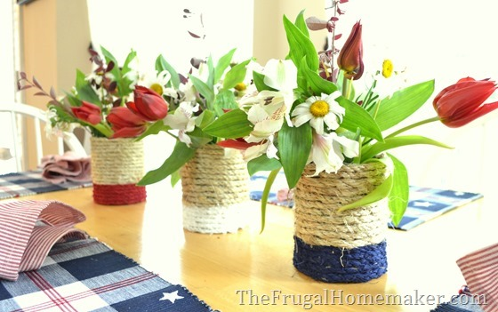 Patriotic themed repurposed tin can vase