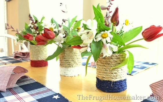 Patriotic themed repurposed tin can vase