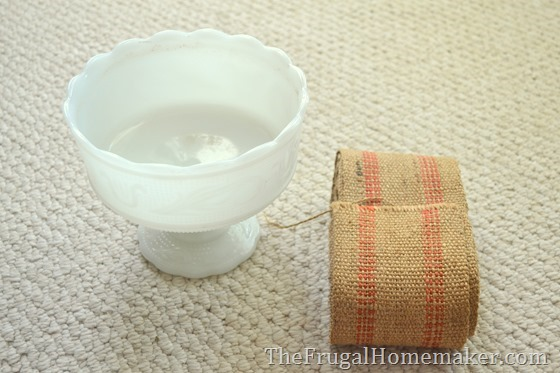 yard sale finds - milkglass and jute webbing