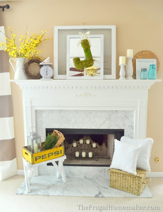 Vintage or Eclectic decorated mantel