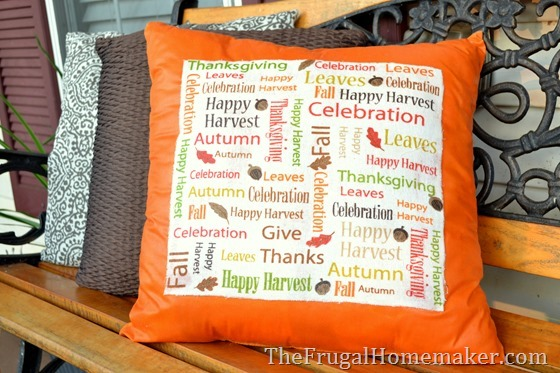 No-sew Fall Subway Art Pillow