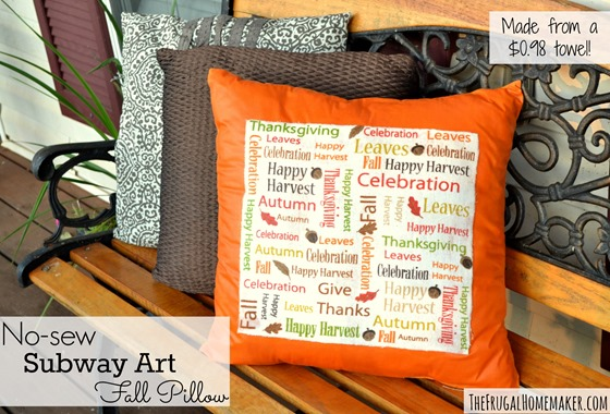 EASY, no-sew fall subway art pillow