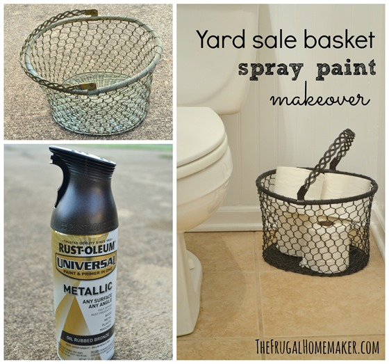 Yard sale basket spray paint makeover
