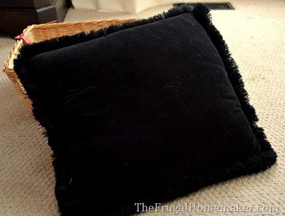 black thrift store pillow