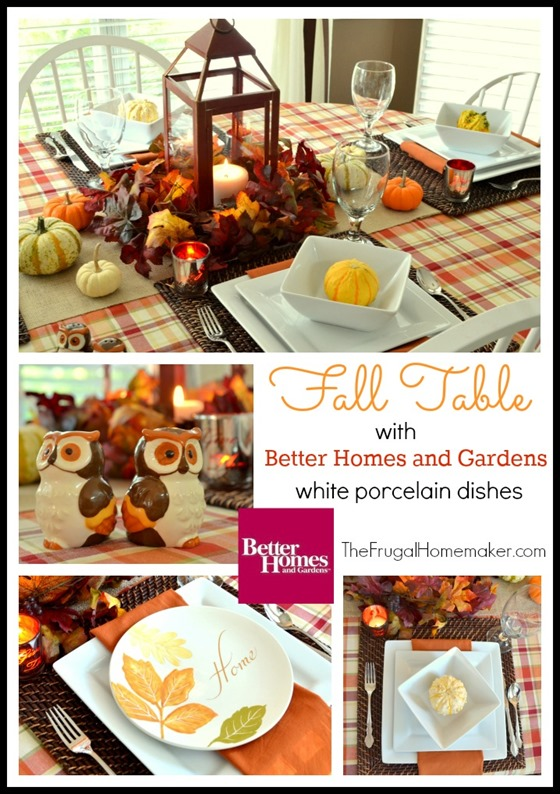 31 Days of Fall Inspiration: Fall table with Better Homes and Gardens white porcelain dishes
