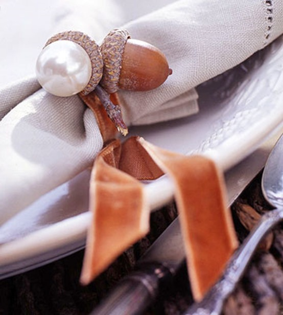 acorn napkin ring with pearls
