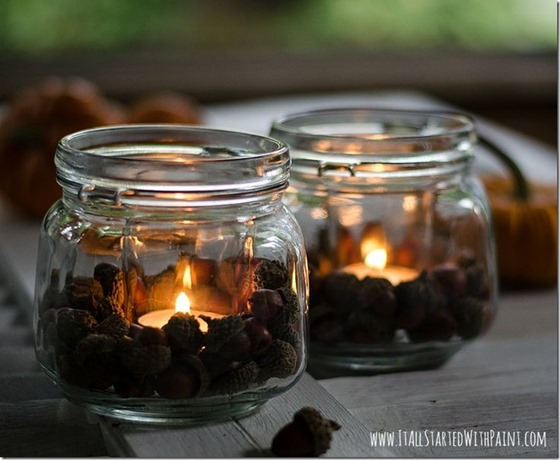 acorns in jars