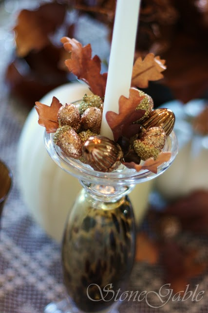 acorns on candlestick