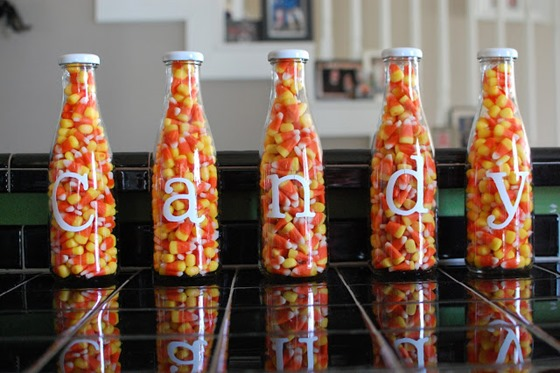 candy corn in jars