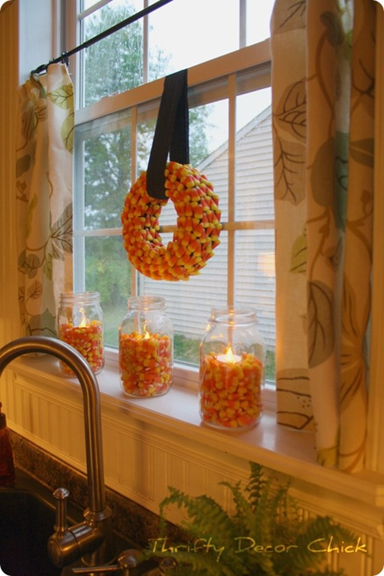 candy corn wreath   mason jars