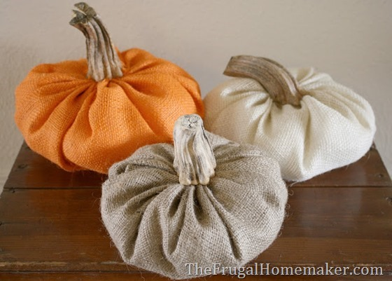colored burlap pumpkins