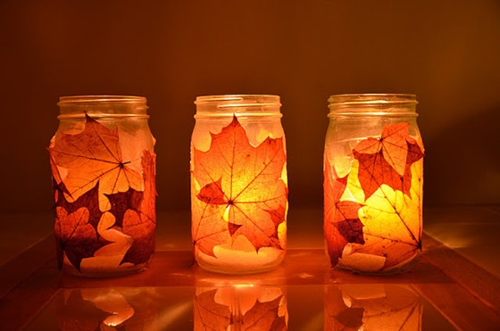 fall leaves mason jar candle holders