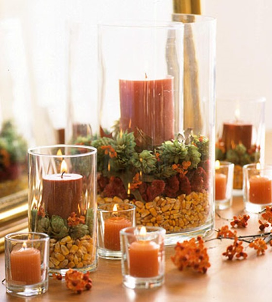 layered candle vases