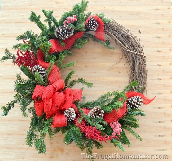 Christmas Grapevine & Evergreen wreath (made with free tree cuttings!)