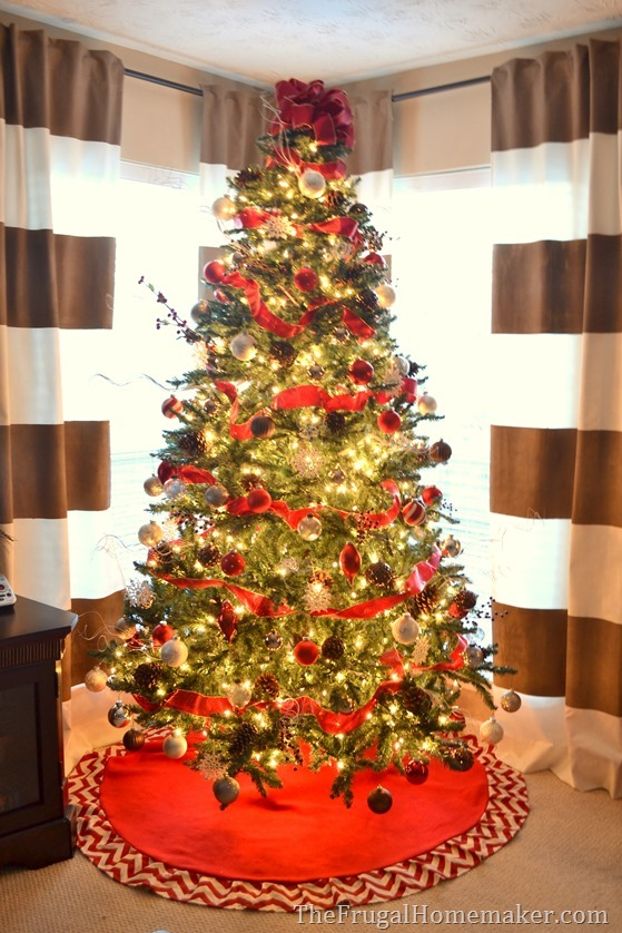 Red, Brown, and Metallic Christmas tree