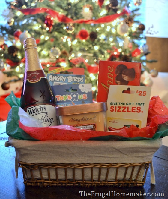 Christmas gift basket with gift cards from Kroger