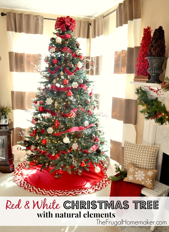 Red and white Christmas tree with natural elements