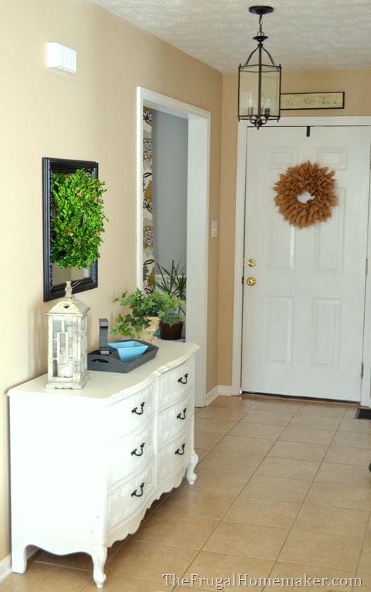 entry way after adding yard sale dresser
