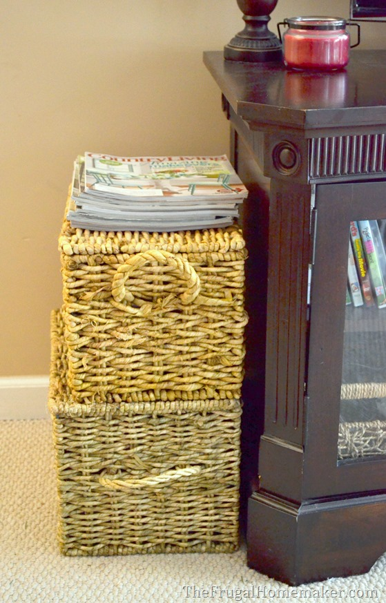 Store magazines or books in baskets.