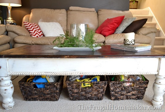 3. Create storage under coffee tables or end tables with baskets or bins.