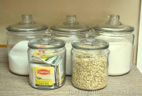 4. Use canisters to store/display frequently used baking ingredients right on your counter.