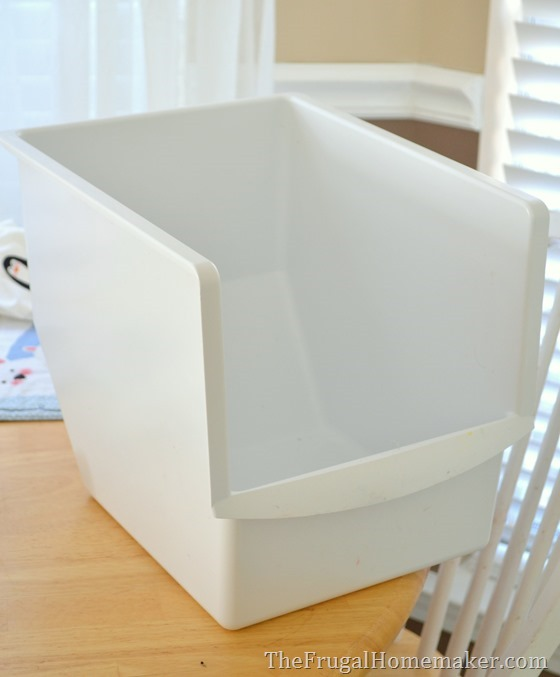 use old freezer bins to organize pantry or stand up freezer