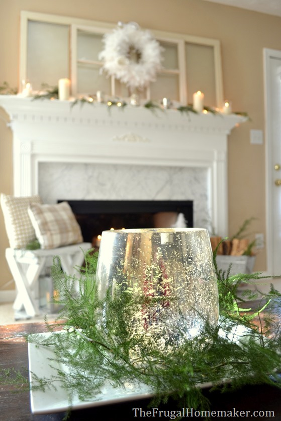 simple mercury glass and greenery centerpiece