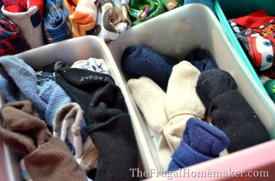 use baby wipe boxes to organize kids clothes and socks