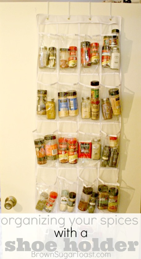 Organizing your Spices with a Shoe Holder