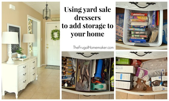 Use yard sale dressers (or trunks/chests) to add extra storage in your home