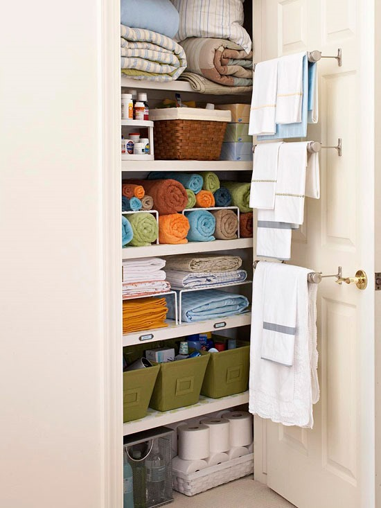 linens on closet door