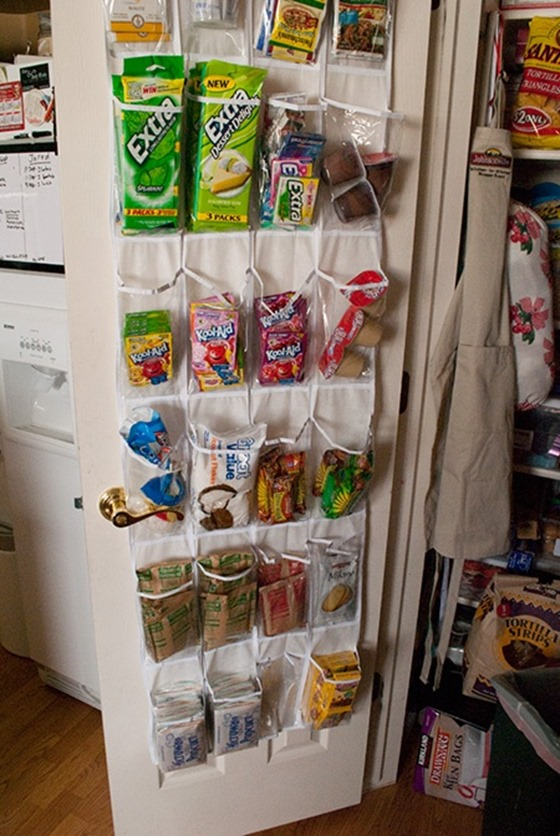 organize snacks in shoe holder
