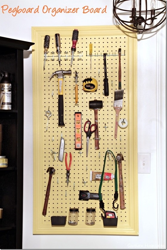 12. Use a pegboard to organize craft supplies, tools, and much more.
