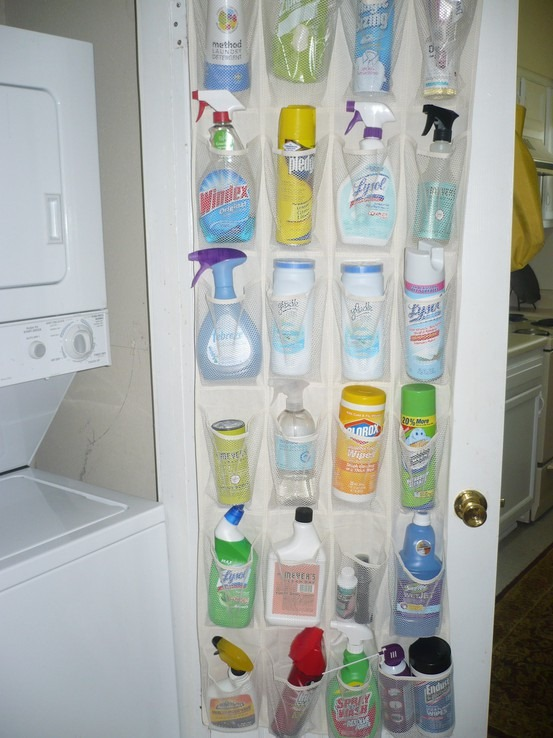 store cleaning supplies in shoe storage
