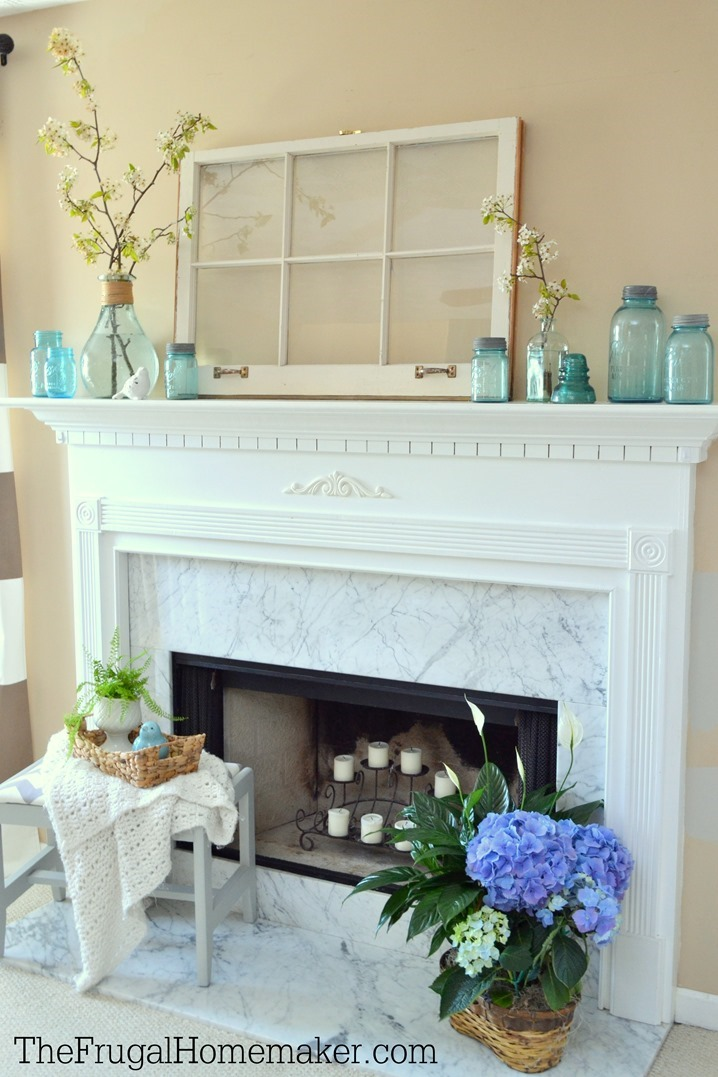 Simple Blue & Blooms Spring Mantel (Ringing in Spring Home Tour)