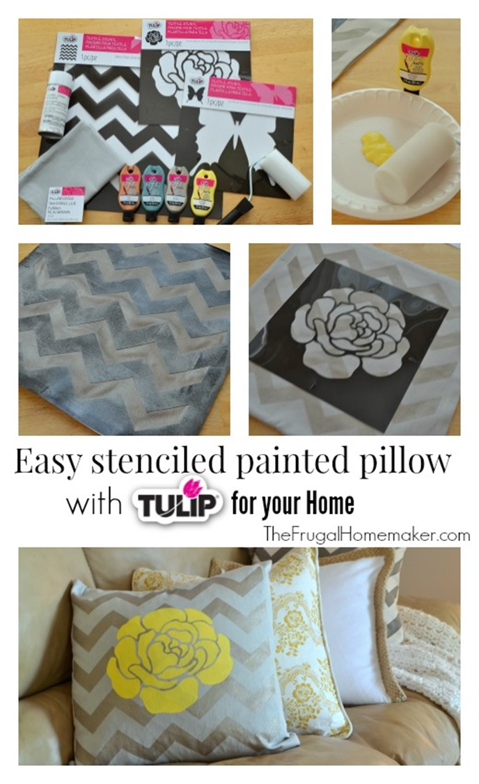 Easy Stenciled Chevron Painted Pillow with Tulip for Your Home