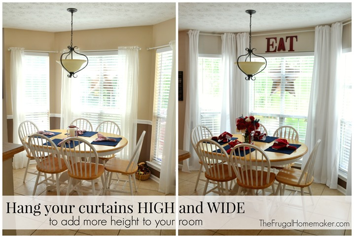 Hang your curtains high and wide to add more height to your room