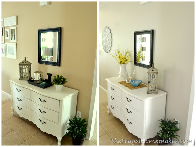 Entrway before after dresser