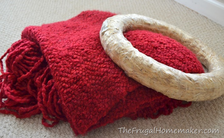 thrift store red throw and wreath