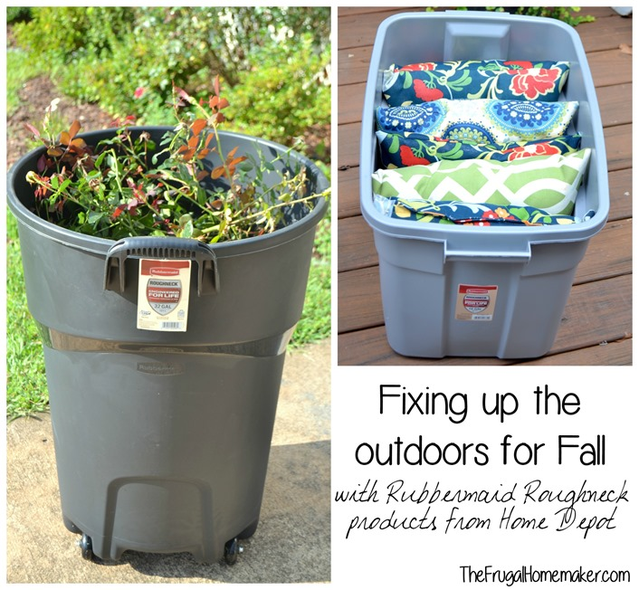 Fixing up the outdoors for Fall with Rubbermaid Roughneck products from Home Depot
