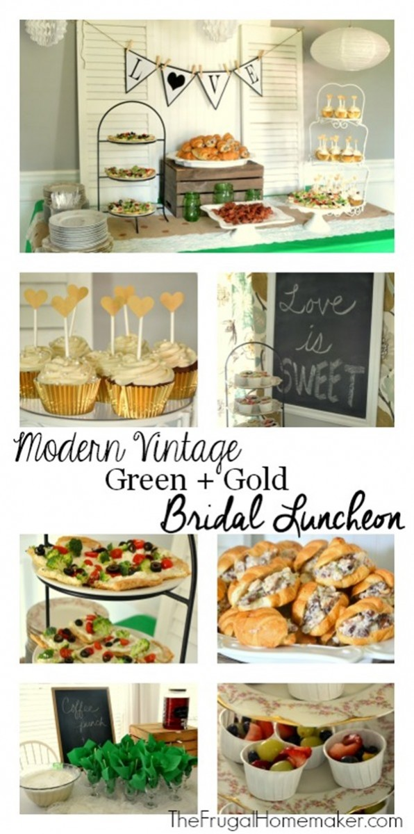 modern vintage green gold bridal shower luncheon