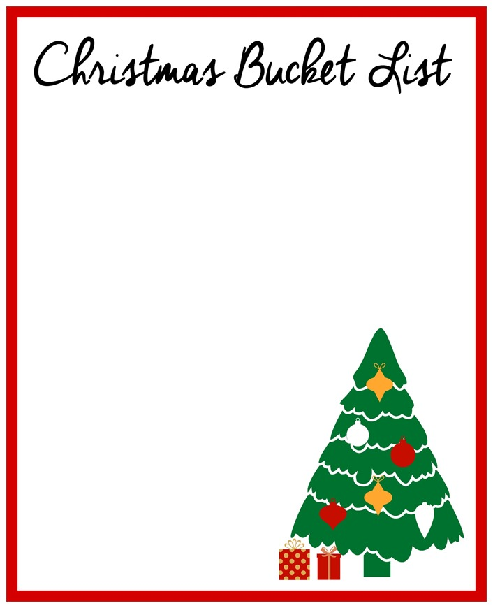 Christmas Bucket List blank printable