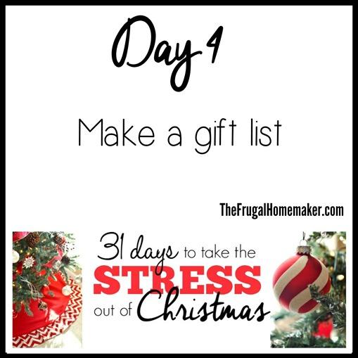 Day 4 - Make a gift list