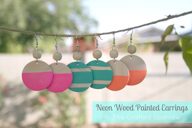 Neon Wood Earrings