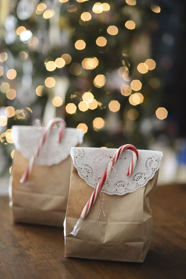brown paper bag with candy cane