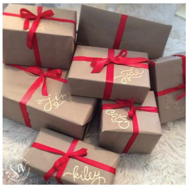 brown paper packages with gold names