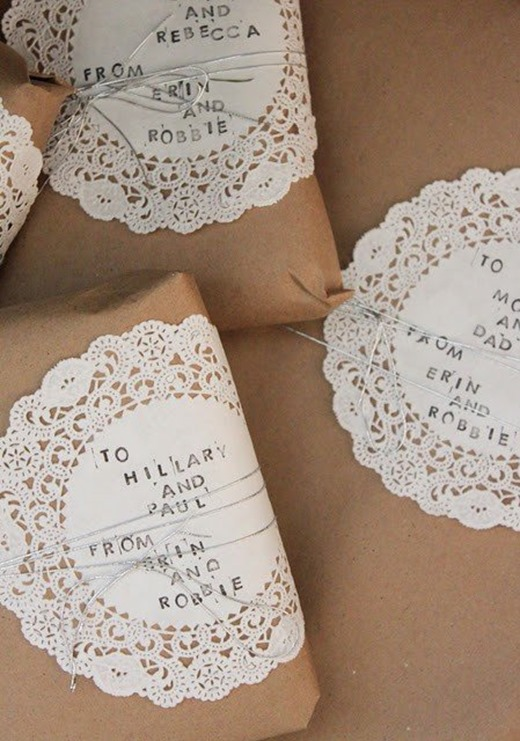 doilies on brown paper