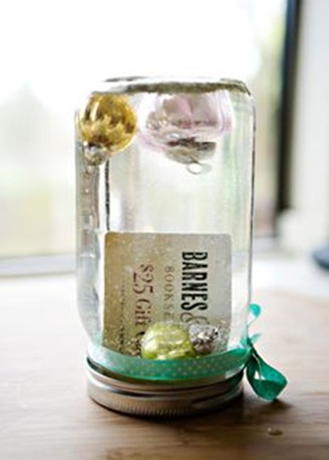 snowglobe gift card in a jar