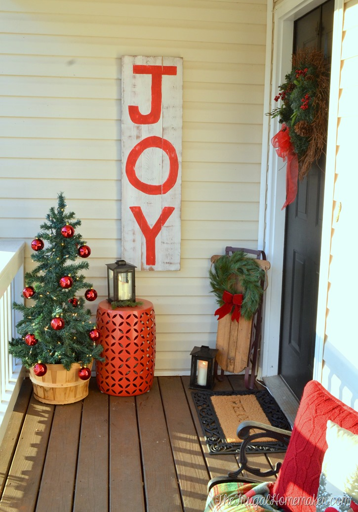 JOY sign on porch